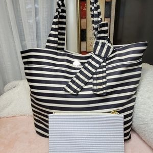 Kate Spade striped tote and cosmetic bag